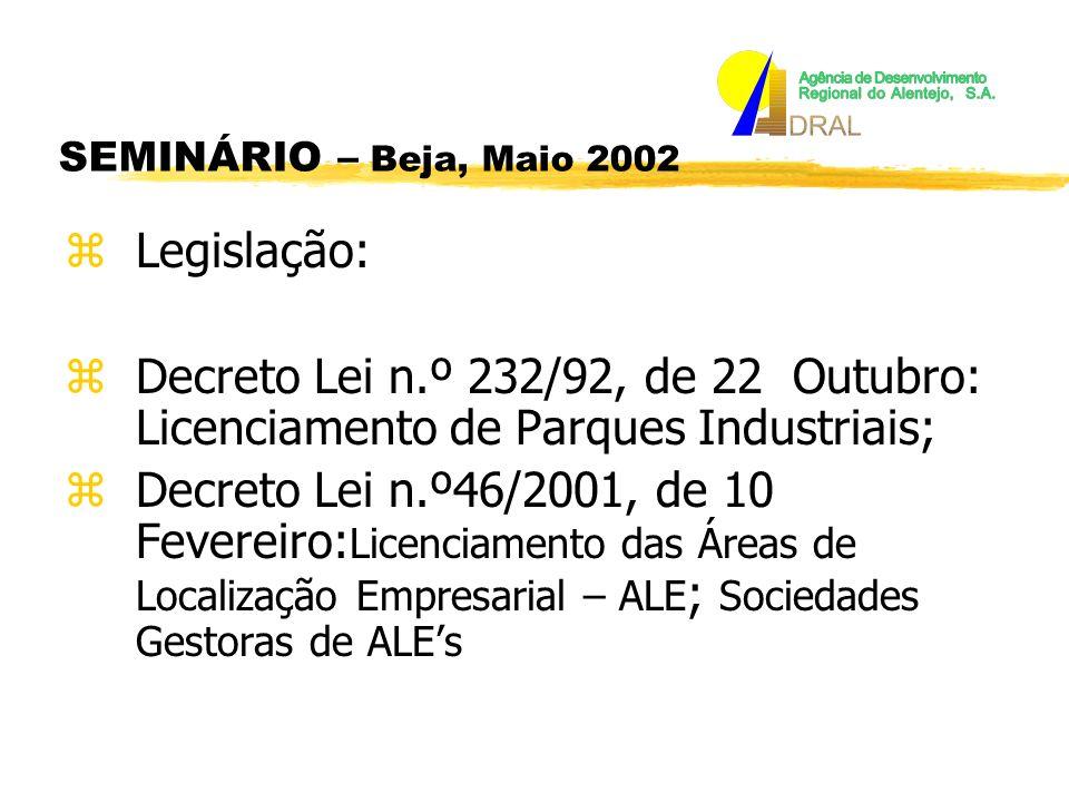 zLegislação: zDecreto Lei n.º 232/92, de 22 Outubro: Licenciamento de Parques Industriais; zDecreto Lei n.º46/2001, de 10 Fevereiro: Licenciamento das Áreas de Localização Empresarial – ALE ; Sociedades Gestoras de ALEs