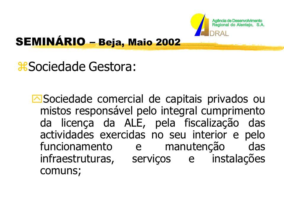 SEMINÁRIO – Beja, Maio 2002 zA sociedade gestora deve possuir um capital social mínimo de 500 000 Euros e possuir uma situação liquida igual ou superior a 25% do seu activo líquido.