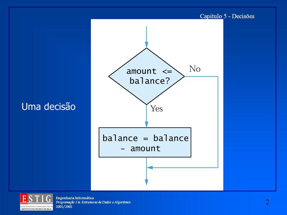 Engenharia Informática Programação I & Estruturas de Dados e Algoritmos 2001/2002 2 Capitulo 5 - Decisões Uma decisão