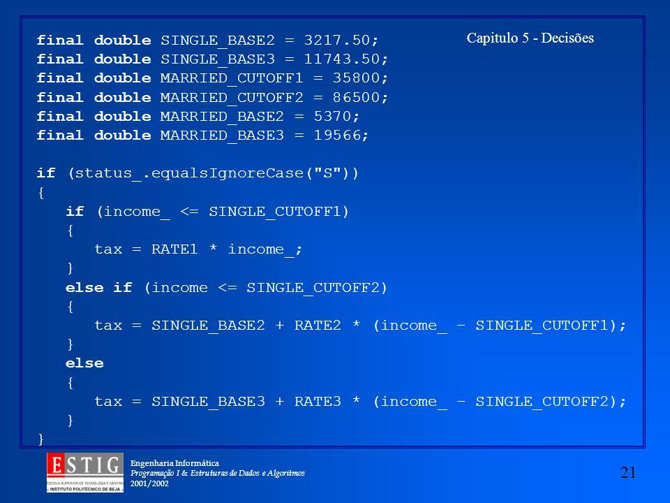Engenharia Informática Programação I & Estruturas de Dados e Algoritmos 2001/2002 21 Capitulo 5 - Decisões final double SINGLE_BASE2 = 3217.50; final double SINGLE_BASE3 = 11743.50; final double MARRIED_CUTOFF1 = 35800; final double MARRIED_CUTOFF2 = 86500; final double MARRIED_BASE2 = 5370; final double MARRIED_BASE3 = 19566; if (status_.equalsIgnoreCase( S )) { if (income_ <= SINGLE_CUTOFF1) { tax = RATE1 * income_; } else if (income <= SINGLE_CUTOFF2) { tax = SINGLE_BASE2 + RATE2 * (income_ - SINGLE_CUTOFF1); } else { tax = SINGLE_BASE3 + RATE3 * (income_ - SINGLE_CUTOFF2); }