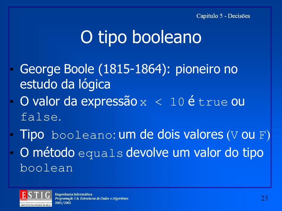Engenharia Informática Programação I & Estruturas de Dados e Algoritmos 2001/2002 23 Capitulo 5 - Decisões O tipo booleano George Boole (1815-1864): pioneiro no estudo da lógica O valor da expressão x < 10 é true ou false.