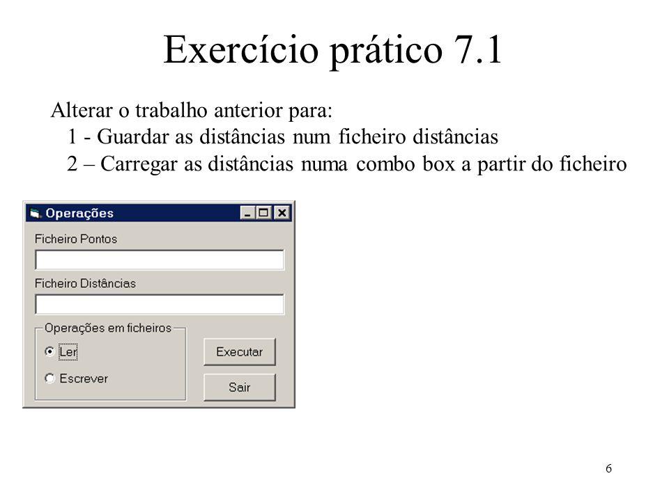 17 Ficheiros de acesso aleatório Calcular o número de registos de um ficheiro numeroDeRegistos = LOF(n) / Len(registo) Posicionar o apontador do ficheiro para escrever no fim Seek #n, (LOF(n) + Len(registo)) / Len(registo), registo ou Seek #n, LOF(n) / Len(registo) + 1, registo