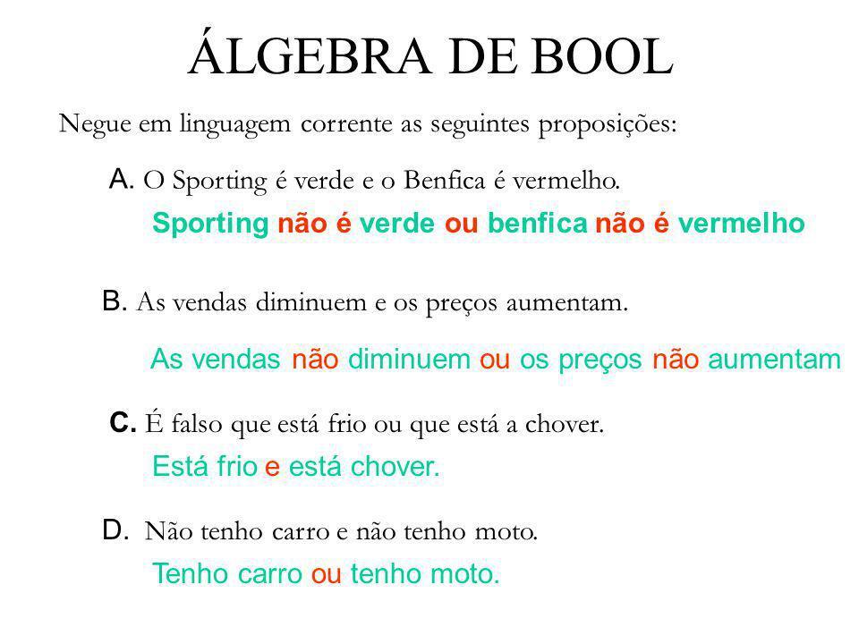 ÁLGEBRA DE BOOL A. O Sporting é verde e o Benfica é vermelho. Negue em linguagem corrente as seguintes proposições: Sporting não é verde ou benfica nã