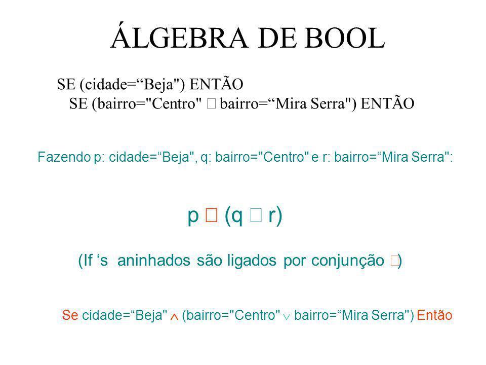 ÁLGEBRA DE BOOL SE (cidade=Beja
