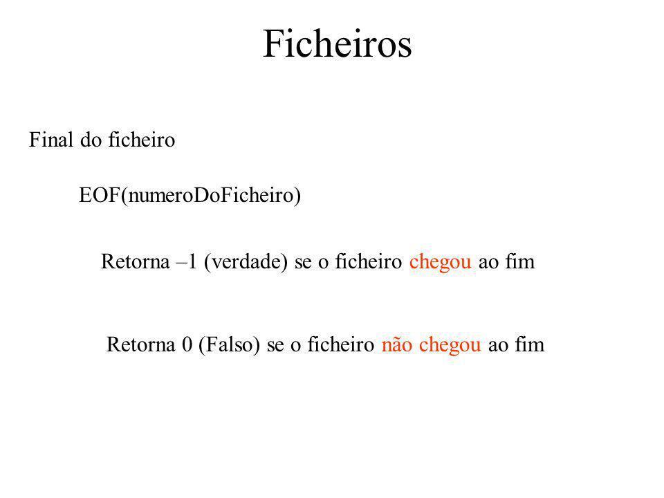 Ficheiros Final do ficheiro EOF(numeroDoFicheiro) Retorna –1 (verdade) se o ficheiro chegou ao fim Retorna 0 (Falso) se o ficheiro não chegou ao fim
