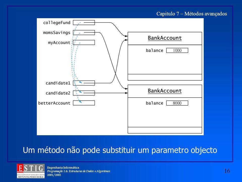 Engenharia Informática Programação I & Estruturas de Dados e Algoritmos 2001/2002 16 Capitulo 7 – Métodos avançados Um método não pode substituir um parametro objecto