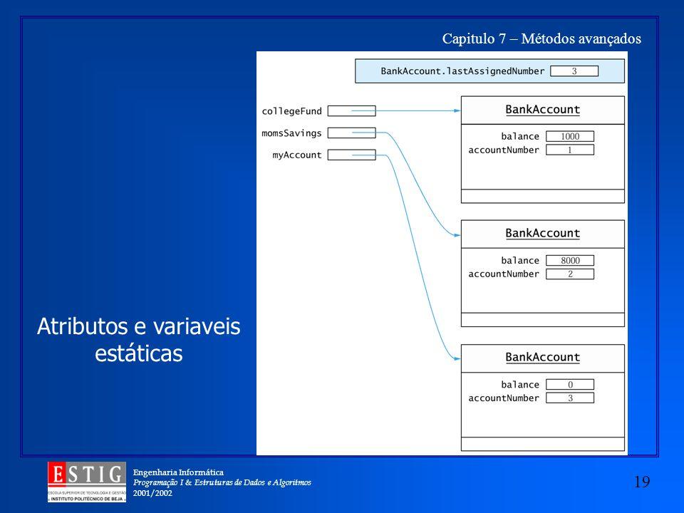 Engenharia Informática Programação I & Estruturas de Dados e Algoritmos 2001/2002 19 Capitulo 7 – Métodos avançados Atributos e variaveis estáticas