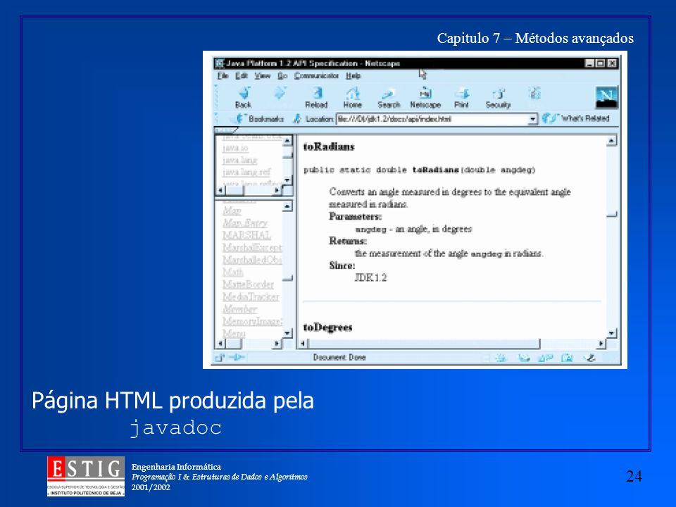 Engenharia Informática Programação I & Estruturas de Dados e Algoritmos 2001/2002 24 Capitulo 7 – Métodos avançados Página HTML produzida pela javadoc