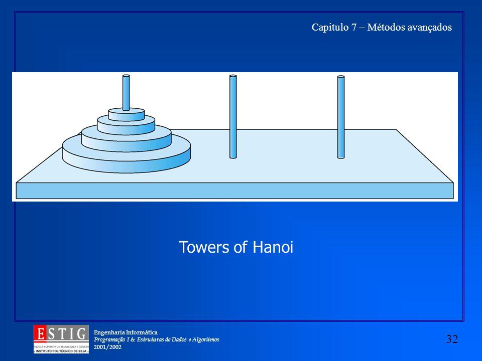 Engenharia Informática Programação I & Estruturas de Dados e Algoritmos 2001/2002 32 Capitulo 7 – Métodos avançados Towers of Hanoi