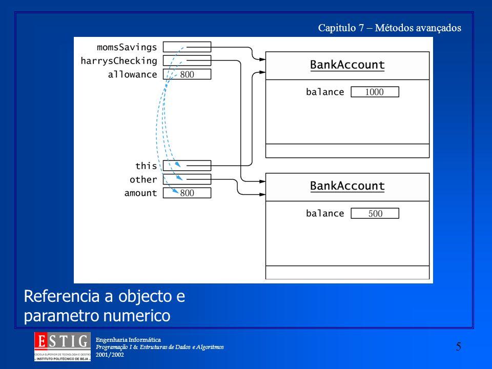 Engenharia Informática Programação I & Estruturas de Dados e Algoritmos 2001/2002 5 Capitulo 7 – Métodos avançados Referencia a objecto e parametro numerico
