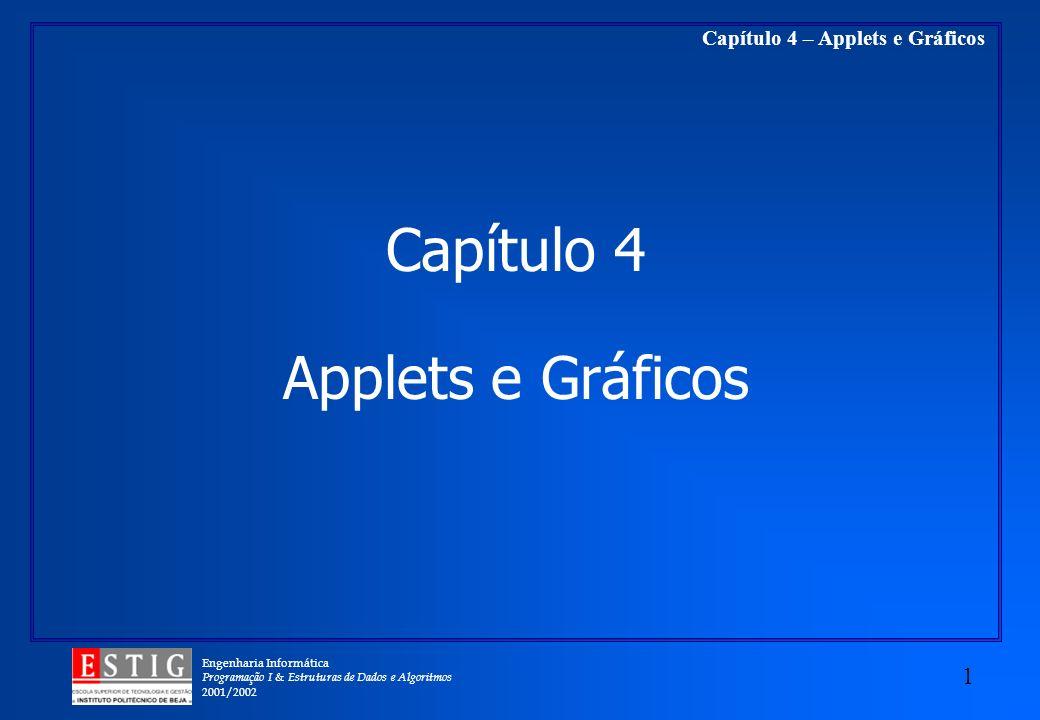 Engenharia Informática Programação I & Estruturas de Dados e Algoritmos 2001/2002 1 Capítulo 4 – Applets e Gráficos Applets e Gráficos Capítulo 4