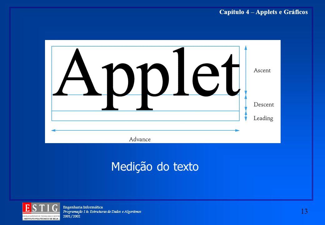 Engenharia Informática Programação I & Estruturas de Dados e Algoritmos 2001/2002 13 Capítulo 4 – Applets e Gráficos Medição do texto