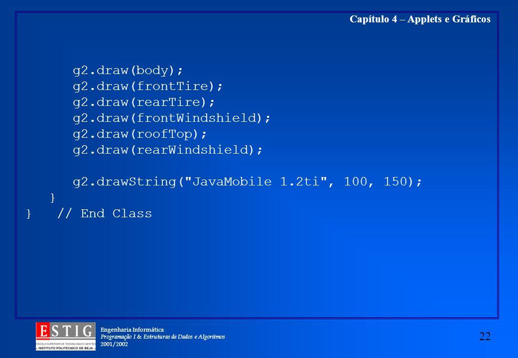 Engenharia Informática Programação I & Estruturas de Dados e Algoritmos 2001/2002 22 Capítulo 4 – Applets e Gráficos g2.draw(body); g2.draw(frontTire)