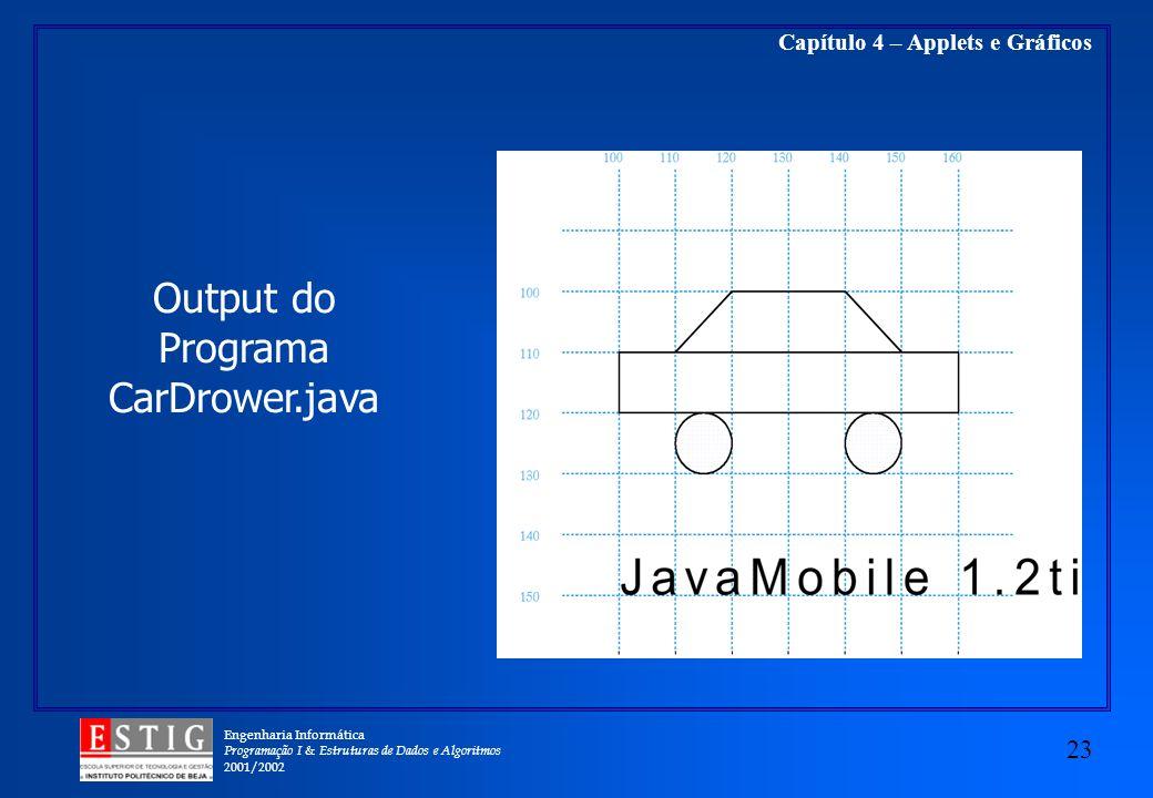 Engenharia Informática Programação I & Estruturas de Dados e Algoritmos 2001/2002 23 Capítulo 4 – Applets e Gráficos Output do Programa CarDrower.java