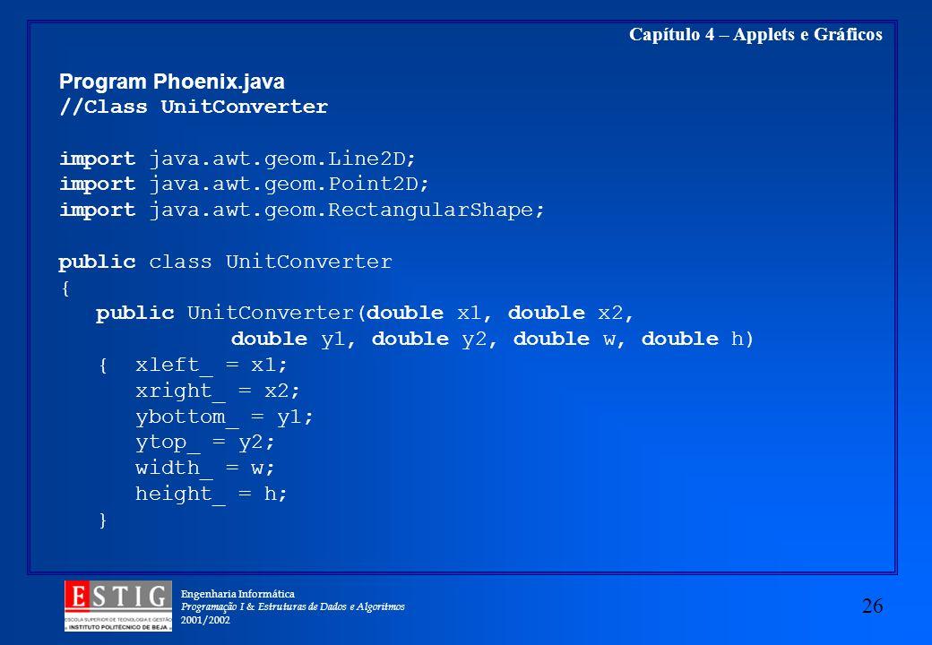 Engenharia Informática Programação I & Estruturas de Dados e Algoritmos 2001/2002 26 Capítulo 4 – Applets e Gráficos Program Phoenix.java //Class Unit