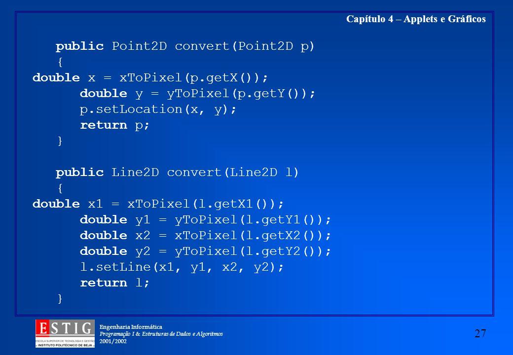 Engenharia Informática Programação I & Estruturas de Dados e Algoritmos 2001/2002 27 Capítulo 4 – Applets e Gráficos public Point2D convert(Point2D p)