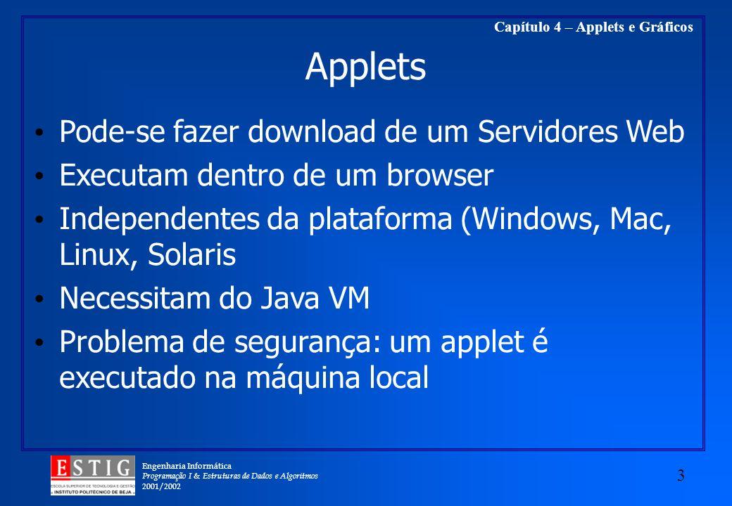 Engenharia Informática Programação I & Estruturas de Dados e Algoritmos 2001/2002 3 Capítulo 4 – Applets e Gráficos Applets Pode-se fazer download de