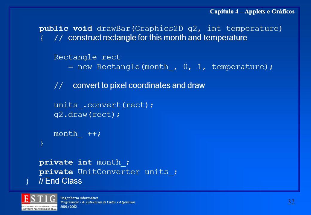 Engenharia Informática Programação I & Estruturas de Dados e Algoritmos 2001/2002 32 Capítulo 4 – Applets e Gráficos public void drawBar(Graphics2D g2