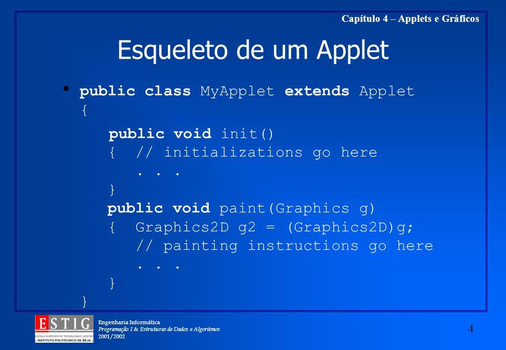 Engenharia Informática Programação I & Estruturas de Dados e Algoritmos 2001/2002 4 Capítulo 4 – Applets e Gráficos Esqueleto de um Applet public clas