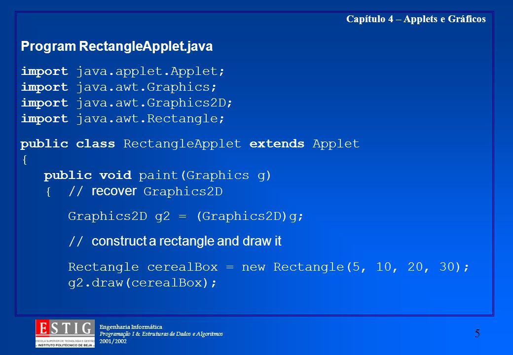 Engenharia Informática Programação I & Estruturas de Dados e Algoritmos 2001/2002 5 Capítulo 4 – Applets e Gráficos Program RectangleApplet.java impor