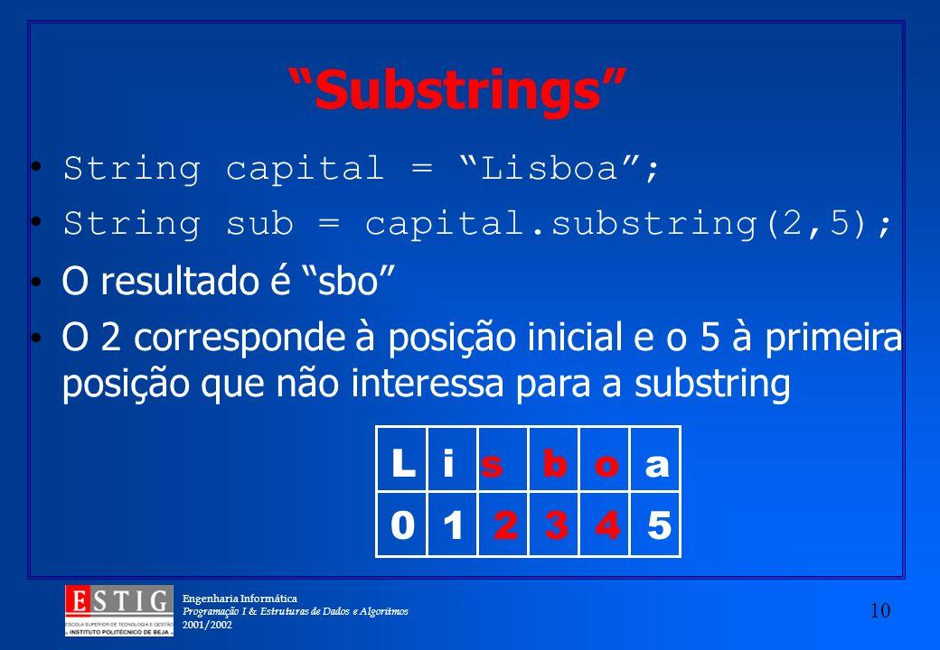 Engenharia Informática Programação I & Estruturas de Dados e Algoritmos 2001/2002 10 Substrings String capital = Lisboa; String sub = capital.substring(2,5); O resultado é sbo O 2 corresponde à posição inicial e o 5 à primeira posição que não interessa para a substring L i s b o a 0 1 2 3 4 5
