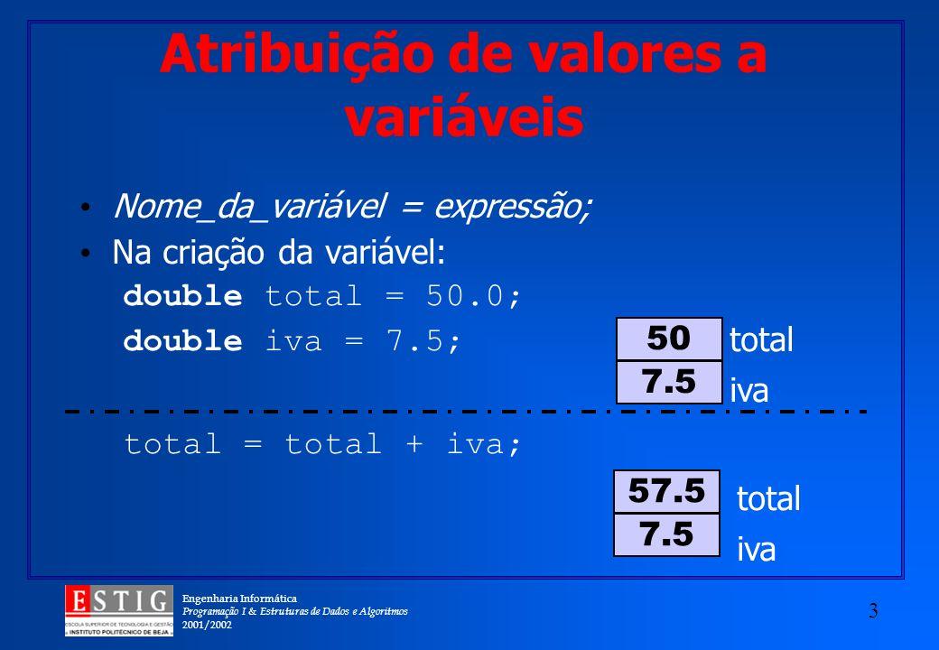 Engenharia Informática Programação I & Estruturas de Dados e Algoritmos 2001/2002 3 Atribuição de valores a variáveis Nome_da_variável = expressão; Na criação da variável: double total = 50.0; double iva = 7.5; total iva 7.5 50 total = total + iva; 7.5 57.5 total iva