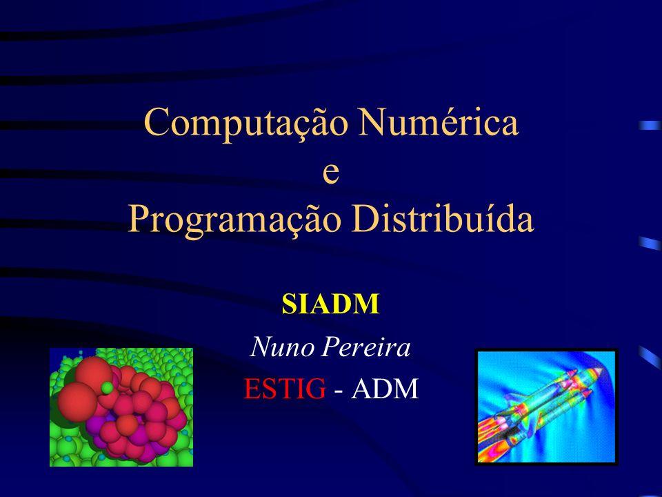 SIADM - Computação Numérica e Programação Distribuída 32 Computação Distribuída: Aplicações Engenharia Aeroespacial FEL: Field Encapsulation Library –Representação de campos e malhas.