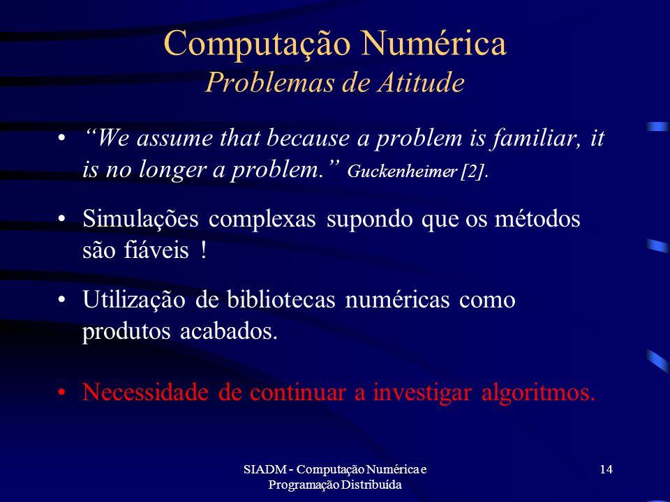 SIADM - Computação Numérica e Programação Distribuída 14 Computação Numérica Problemas de Atitude We assume that because a problem is familiar, it is