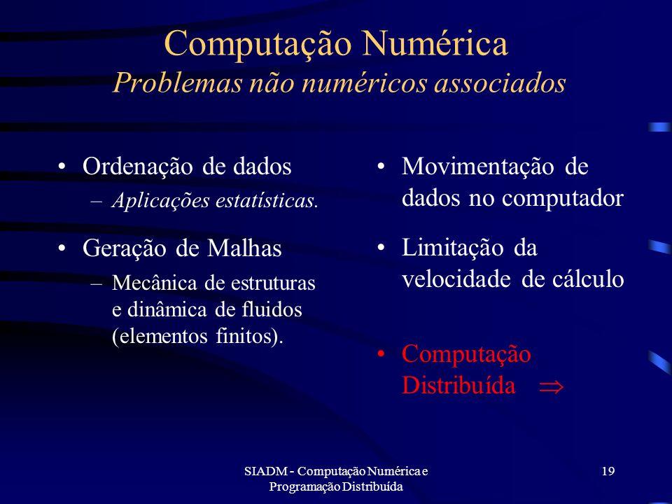 SIADM - Computação Numérica e Programação Distribuída 19 Computação Numérica Problemas não numéricos associados Ordenação de dados –Aplicações estatís