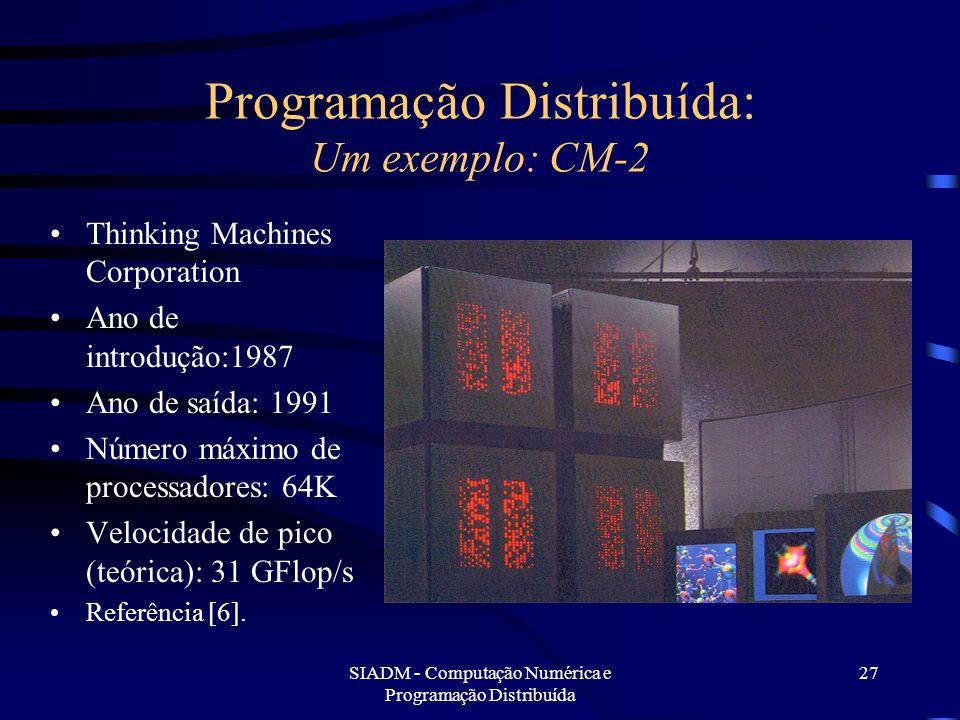 SIADM - Computação Numérica e Programação Distribuída 27 Programação Distribuída: Um exemplo: CM-2 Thinking Machines Corporation Ano de introdução:198