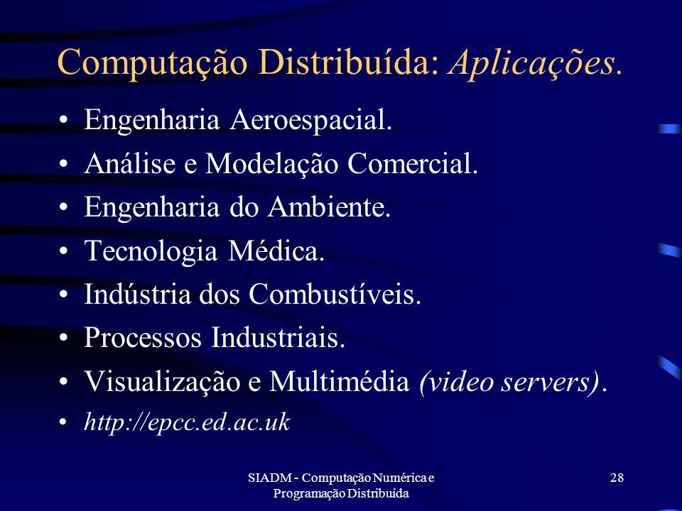 SIADM - Computação Numérica e Programação Distribuída 28 Computação Distribuída: Aplicações. Engenharia Aeroespacial. Análise e Modelação Comercial. E