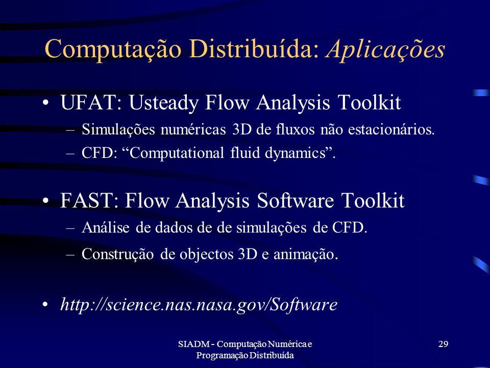SIADM - Computação Numérica e Programação Distribuída 29 Computação Distribuída: Aplicações UFAT: Usteady Flow Analysis Toolkit –Simulações numéricas