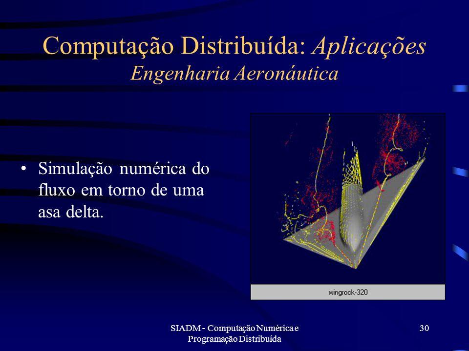SIADM - Computação Numérica e Programação Distribuída 30 Computação Distribuída: Aplicações Engenharia Aeronáutica Simulação numérica do fluxo em torn