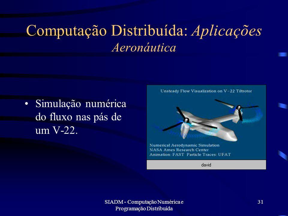 SIADM - Computação Numérica e Programação Distribuída 31 Computação Distribuída: Aplicações Aeronáutica Simulação numérica do fluxo nas pás de um V-22