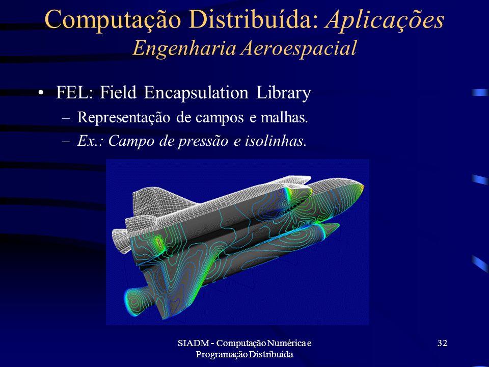 SIADM - Computação Numérica e Programação Distribuída 32 Computação Distribuída: Aplicações Engenharia Aeroespacial FEL: Field Encapsulation Library –