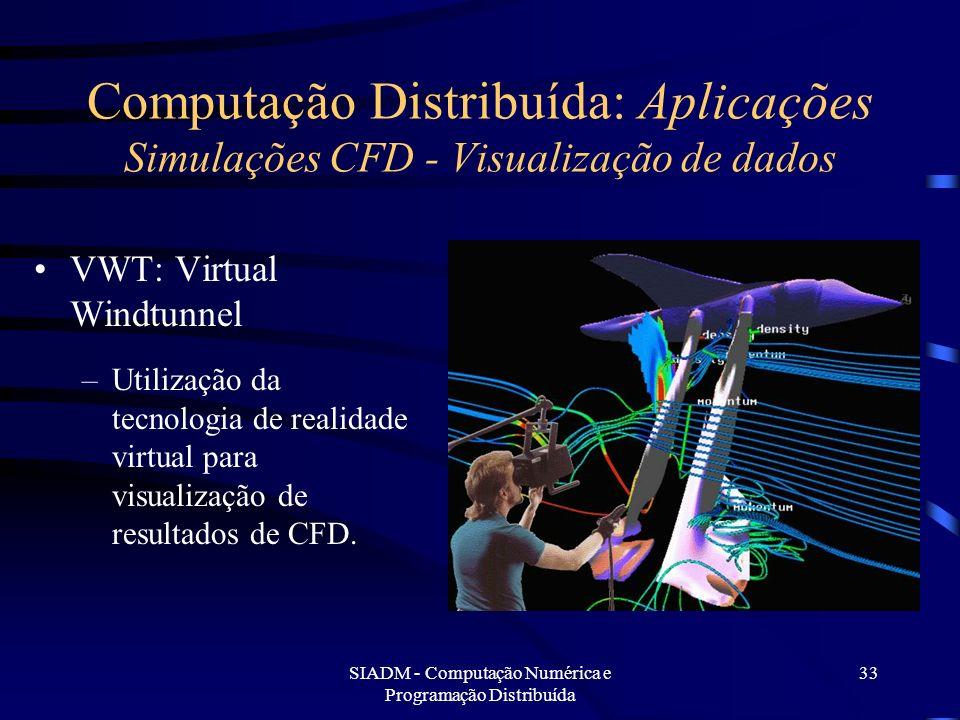 SIADM - Computação Numérica e Programação Distribuída 33 Computação Distribuída: Aplicações Simulações CFD - Visualização de dados VWT: Virtual Windtu