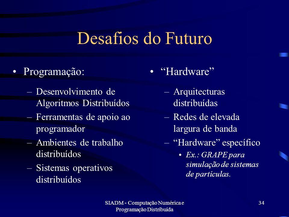 SIADM - Computação Numérica e Programação Distribuída 34 Desafios do Futuro Programação: –Desenvolvimento de Algoritmos Distribuídos –Ferramentas de a