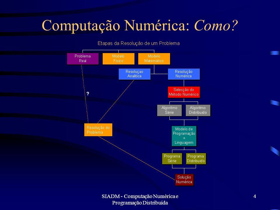 SIADM - Computação Numérica e Programação Distribuída 15 Computação Numérica Problemas na Abordagem As questões de análise numérica não são consideradas centrais: –Para alguns matemáticos são inferiores à demonstração de teoremas.