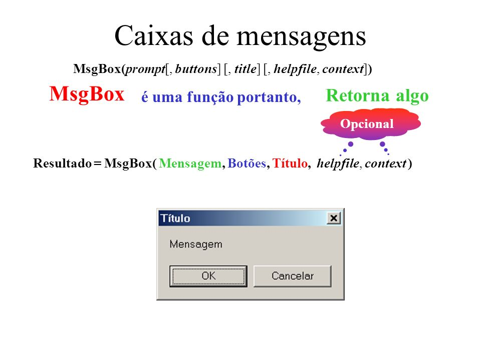 Caixas de mensagens MsgBox(prompt[, buttons] [, title] [, helpfile, context]) MsgBox é uma função portanto, Retorna algo Resultado = MsgBox( Mensagem, Botões, Título, helpfile, context ) Opcional