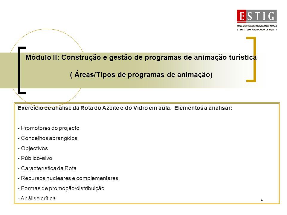 4 Módulo II: Construção e gestão de programas de animação turística ( Áreas/Tipos de programas de animação) Exercício de análise da Rota do Azeite e d