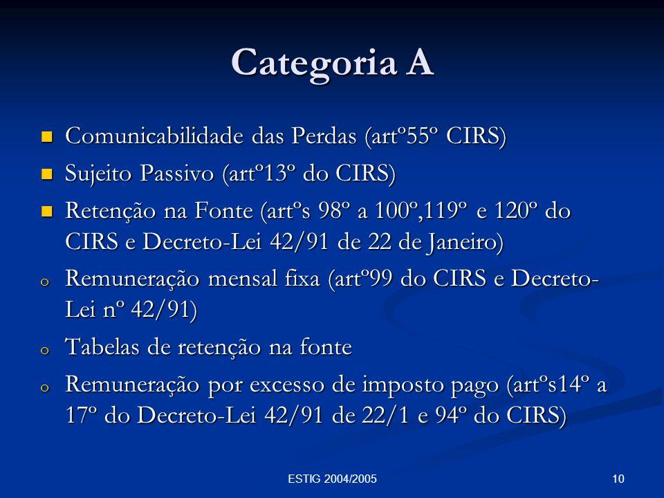 10ESTIG 2004/2005 Categoria A Comunicabilidade das Perdas (artº55º CIRS) Comunicabilidade das Perdas (artº55º CIRS) Sujeito Passivo (artº13º do CIRS)