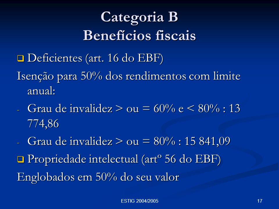 17ESTIG 2004/2005 Categoria B Benefícios fiscais Deficientes (art. 16 do EBF) Deficientes (art. 16 do EBF) Isenção para 50% dos rendimentos com limite