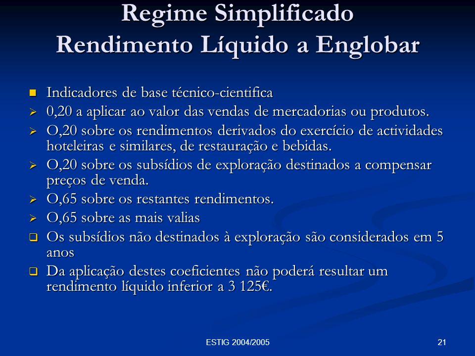 21ESTIG 2004/2005 Regime Simplificado Rendimento Líquido a Englobar Indicadores de base técnico-cientifica Indicadores de base técnico-cientifica 0,20