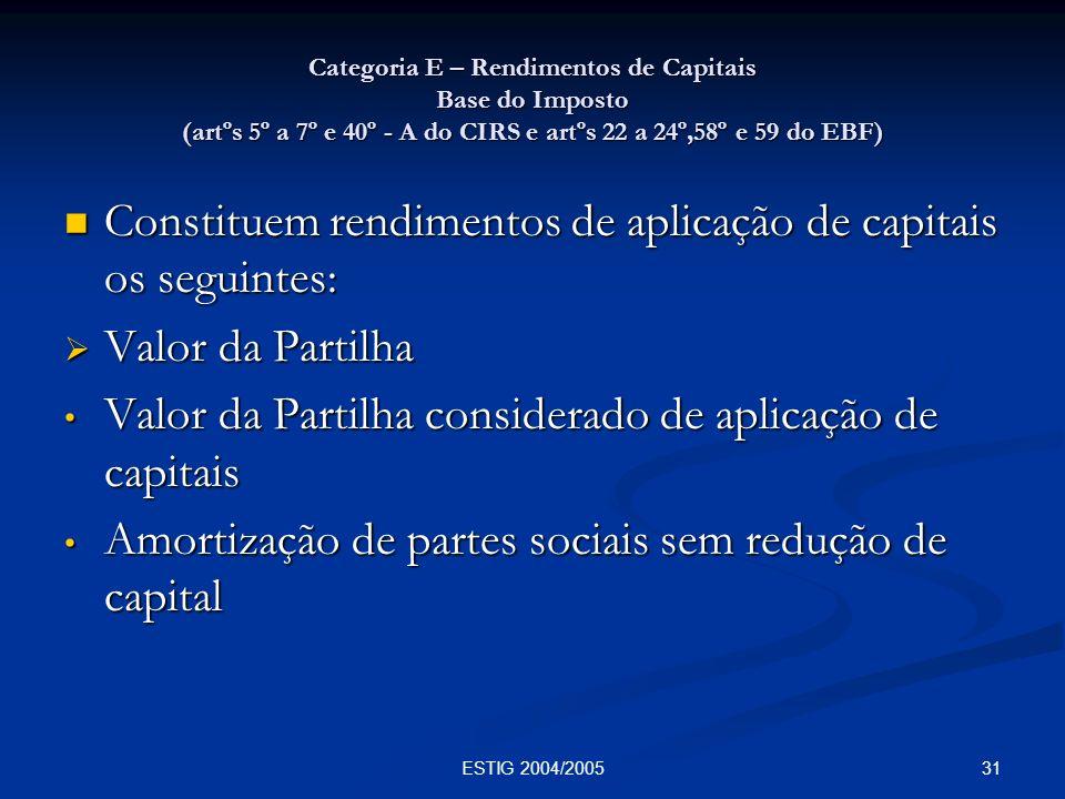 31ESTIG 2004/2005 Categoria E – Rendimentos de Capitais Base do Imposto (artºs 5º a 7º e 40º - A do CIRS e artºs 22 a 24º,58º e 59 do EBF) Constituem