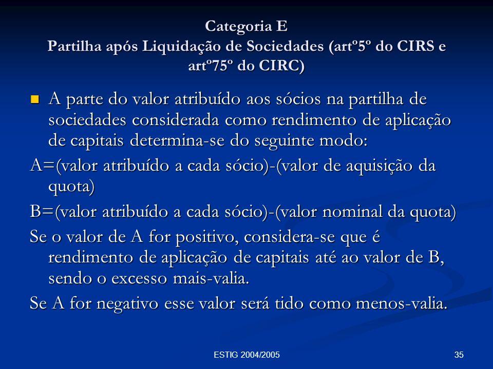 35ESTIG 2004/2005 Categoria E Partilha após Liquidação de Sociedades (artº5º do CIRS e artº75º do CIRC) A parte do valor atribuído aos sócios na parti