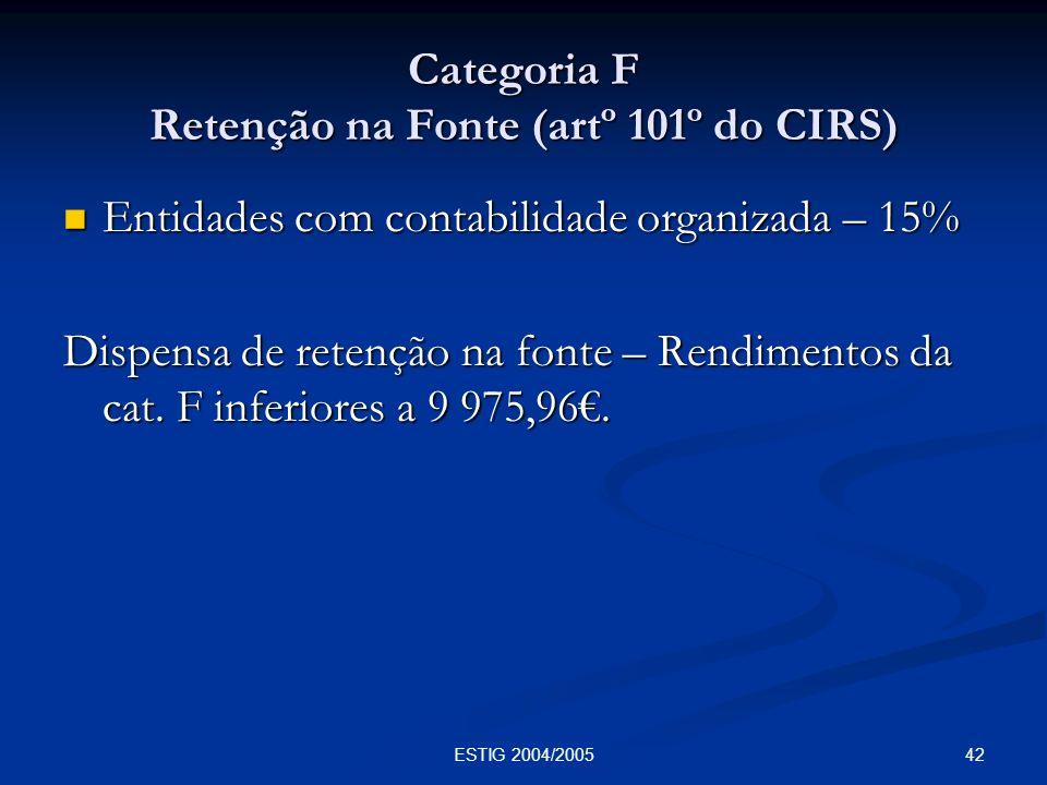 42ESTIG 2004/2005 Categoria F Retenção na Fonte (artº 101º do CIRS) Entidades com contabilidade organizada – 15% Entidades com contabilidade organizad