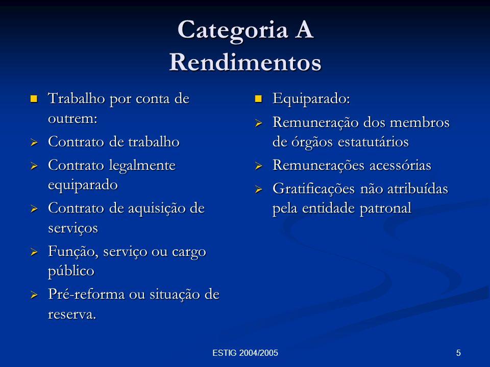 26ESTIG 2004/2005 Categoria B Tributação autónoma sobre despesas (artº.