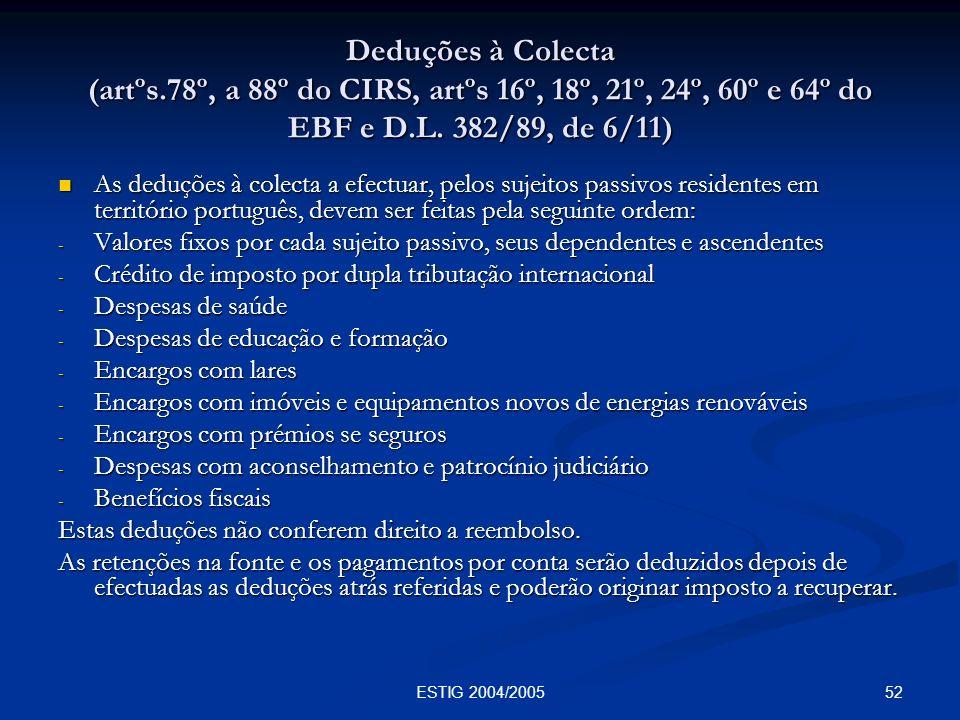 52ESTIG 2004/2005 Deduções à Colecta (artºs.78º, a 88º do CIRS, artºs 16º, 18º, 21º, 24º, 60º e 64º do EBF e D.L. 382/89, de 6/11) As deduções à colec