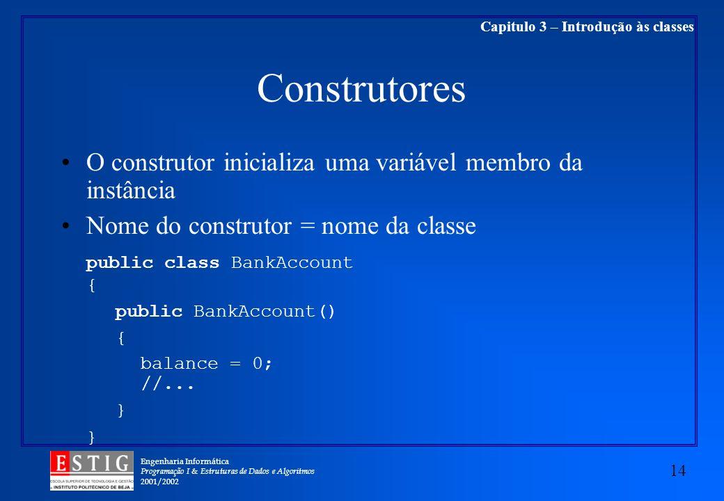 Engenharia Informática Programação I & Estruturas de Dados e Algoritmos 2001/2002 14 Capitulo 3 – Introdução às classes Construtores O construtor inic