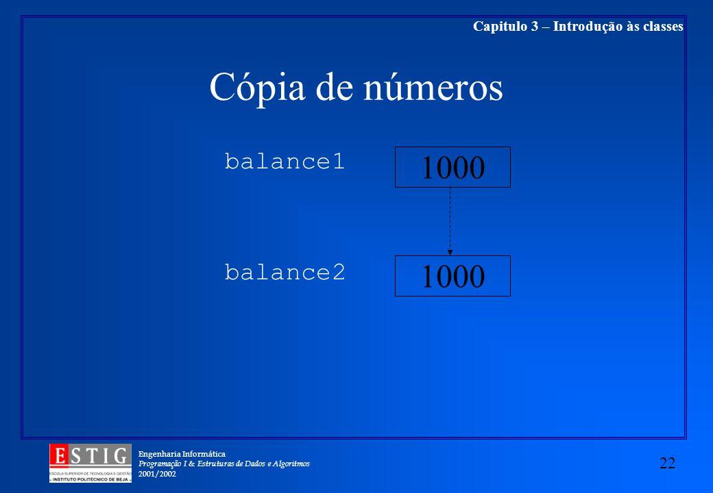 Engenharia Informática Programação I & Estruturas de Dados e Algoritmos 2001/2002 22 Capitulo 3 – Introdução às classes Cópia de números balance1 balance2 1000